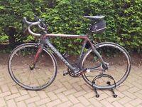 Pinarello Razha Veloce Carbon Fibre Road Bike hardly used size 56cm BB to top of seat tube