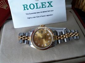 Rolex Oyster Perpetual Datejust Diamond Dial 69173 Ladies Watch 1990