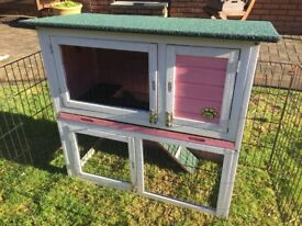 2 Storey Rabbit or Guinea Pig Hutch (can deliver)+Large Foldable Metal Run+Extras