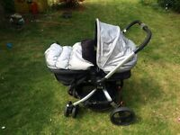 Mothercare Spin Pram/Pushchair; Britax Car Seat & Base; connectors to create travel system