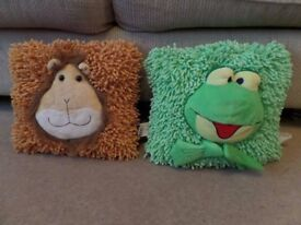 Two soft childrens cushions.