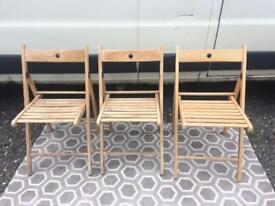 Wood fold down chairs