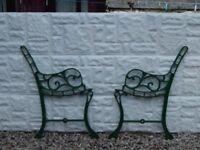 cast iron bench ends / benches / garden furniture / vintage garden salvage / outdoor / patio cast
