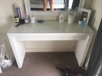 White Ikea dressing table with glass top