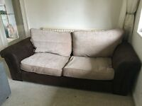Lovely brown suede sofa - hardly used - nearly new