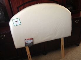 Single beige faux leather headboard