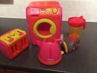 Toy kitchen appliances; used. Kettle, cooker, blender and toaster. £5 for all.