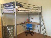 Sturdy steel high bed with desk, excellent condition. New price!