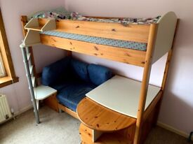 Stompa High Sleeper Bed with desk and couch/futon
