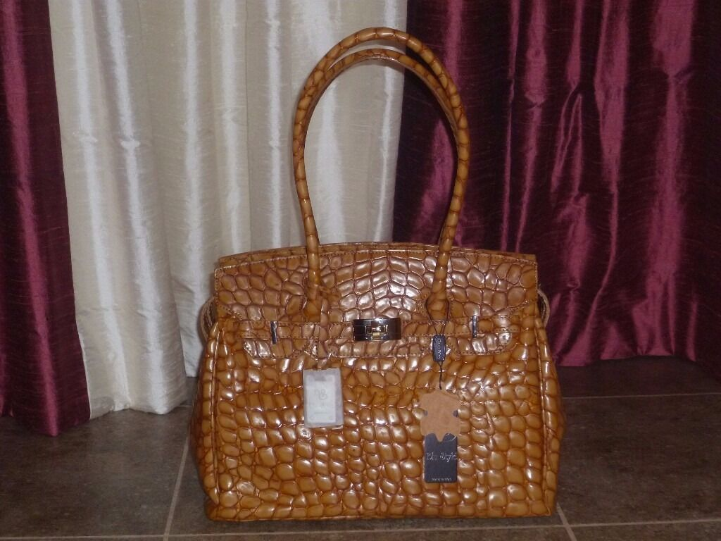 New Woman's Real Leather Italian Brown Croc Grab/Shoulder Bag