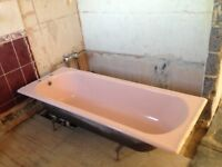 Cast iron bathtub in 'retro' pink. Free to buyer who can collect.