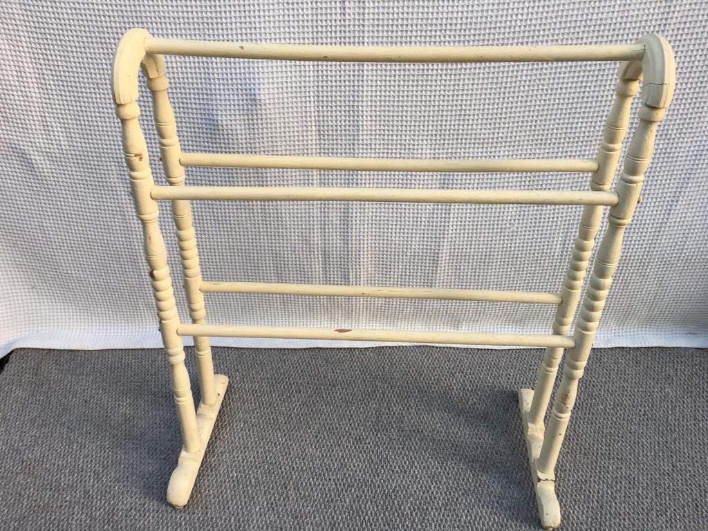 antique vintage old pine towel rail