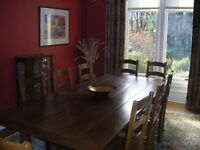Solid Oak Refectory Dining Table with 4 Solid Oak Dining Chairs
