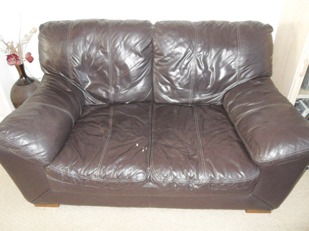 DFS BROWN LEATHER 2 SEATER SOFA SETEE