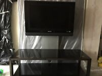 Phillips ambi light 28inc TV with glass unit/stand & remote control