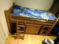 Pine Single Cabin bed with ladder-no mattress