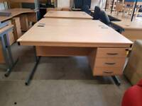 Straight office desks with drawers