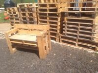 Small pallets ideal for garden furniture