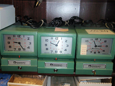 Acroprint 150 Time Clock W100 Time Cards 12 Pocket Rack Rcndtnd W1 Yr Grntee