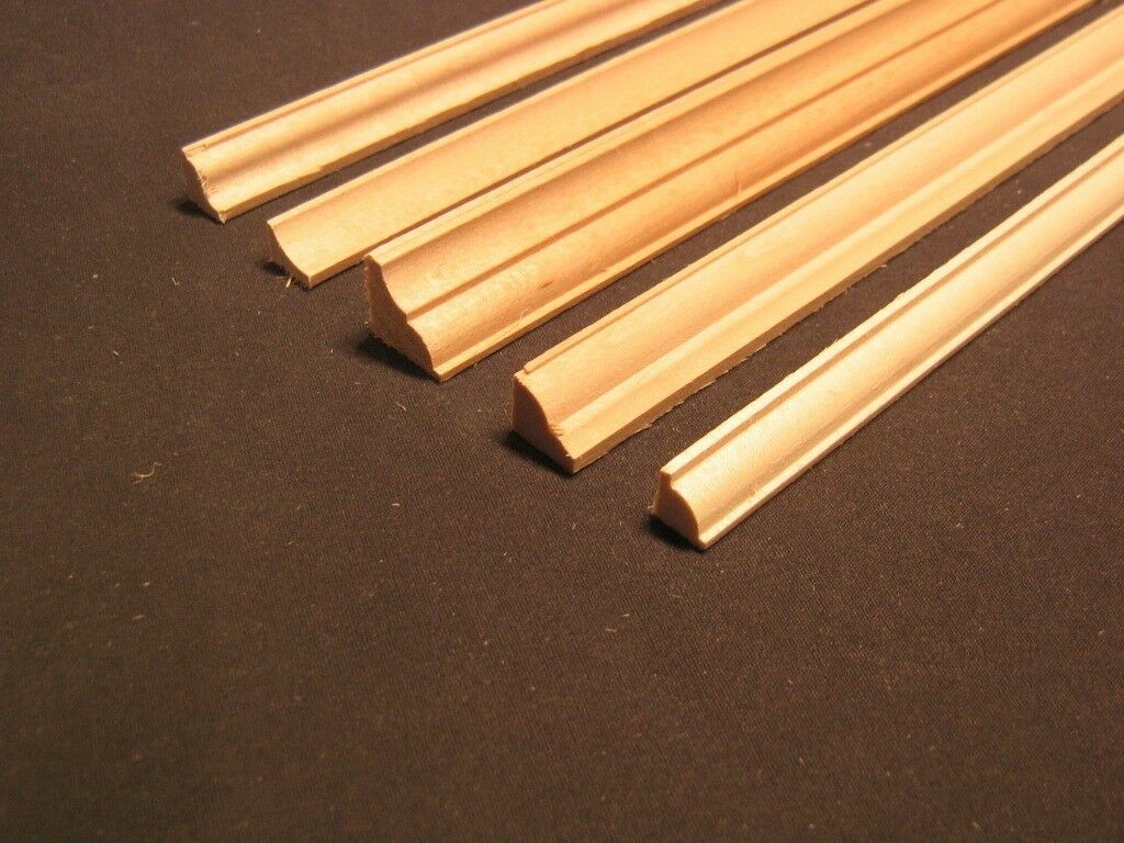 Crown molding 2 dollhouse miniature basswood trim 6pc 23 for 9 inch crown molding