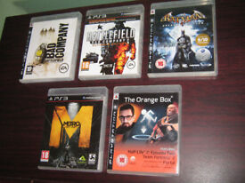 PS3 Games Bundle, Orange Box, Metro Last Light, Batman Arkham Asylum, Battlefield, PlayStation 3