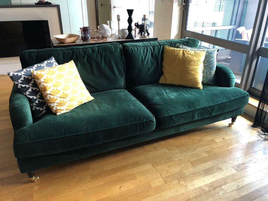 DUNELM Rupert 3-seater bottle green velvet sofa | in Castlefield,  Manchester | Gumtree