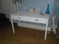 CONSUL WHITE HEART 2 DRAWER TABLE.