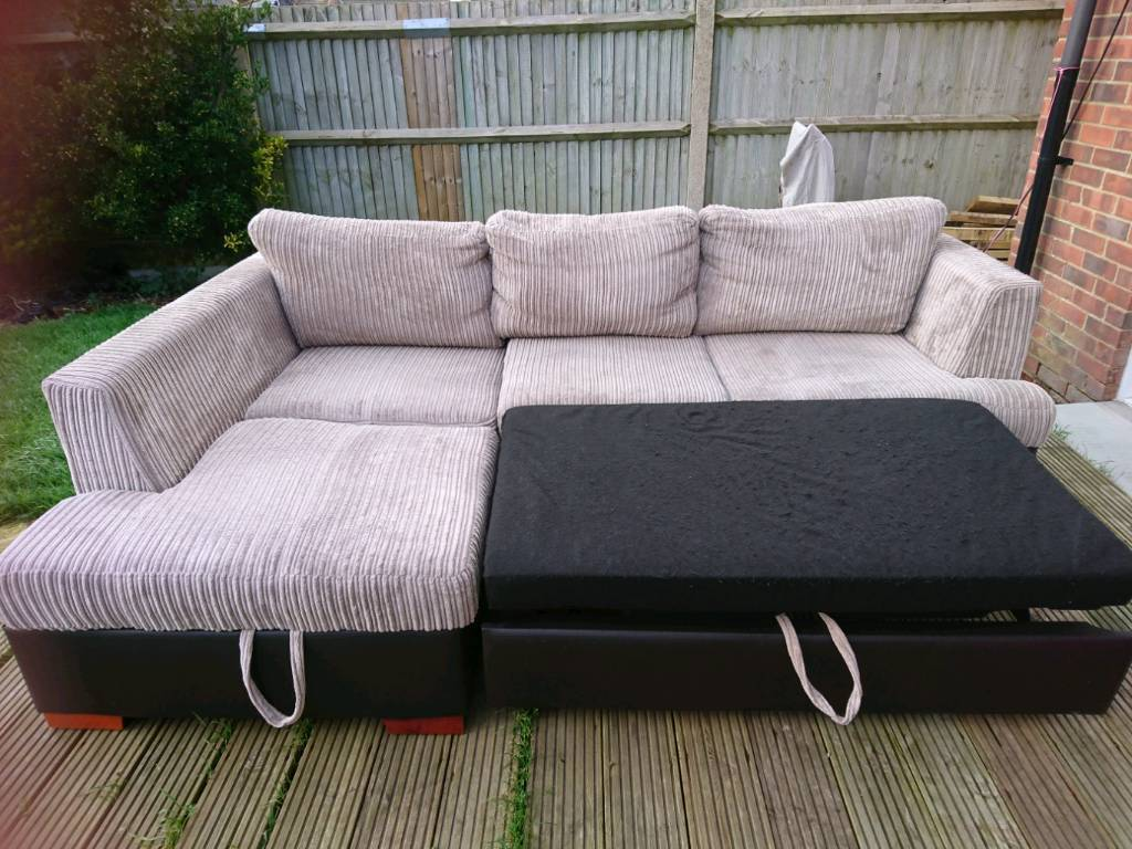 mink jumbo cord corner sofa bed/storage, delivery available | in