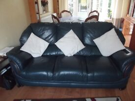 Blue Leather Suite and recliner chair for sale.