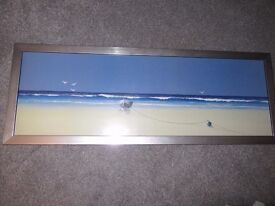 BEACH/SHORE SCENE BOAT WASHED UP ON SAND FRAMED POSTER