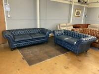 Saxon antique grey blue sofas