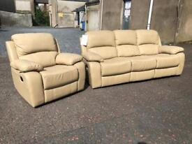 New/Ex-display**Genuine leather 3+1 fully reclining suite - BARGAIN