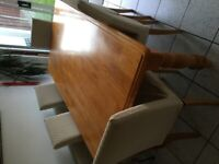 Solid wood rectangular dining table 6ft with 6 chairs