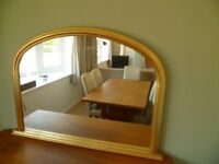 Mantel Mirror with gold-painted wood frame, 113cm wide x 81cm high