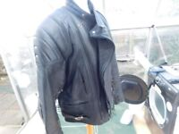 LEATHER BIKER JACKET GREAT CONDITION SIZE 46 PLUS GLOVES