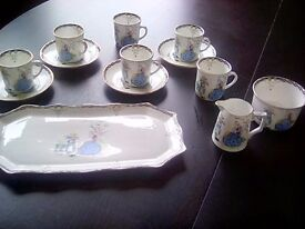 Vintage jhc&co wellington china. lovely coffee/tea set lady and cat