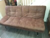 Sofa Bed Brown Suede Effect 3 Seater Great condition!