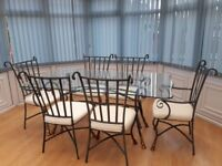 Glass Dining Table and Chairs, Coffee Table and Bar Stools