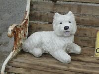 Cute Vintage Westie West Island White Cast Stone Garden Ornament