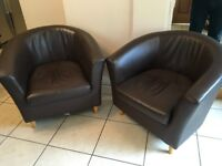 2 brown leather bucket/tub chairs