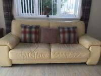 Cream leather 3 seater sofa + chair