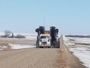 Farm equipment hauling, Air drill agriculture implement towing