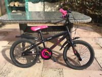"""Child's Bicycle - 16"""" wheel - black and pink"""