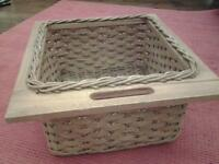 wicker/wooden kitchen basket drawers