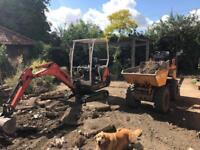 mini digger dumper hire with driver landscape garden work driveways