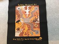 Aboriginal art on material, purchased in Australia
