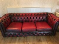 Chesterfield Oxblood 3 seater leather sofa