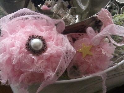rosa brocante handgemachte weihnachtskugeln baumschmuck tüllkugeln baumkugeln