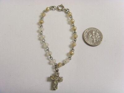 Antiqu catholic faith faux pears beads baby bracelet rosary diamante cross 50251