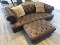Leather Chesterfield Sofa and Foot Stool - DFS Dover/Oscar Range - 2 years old - Half Price